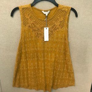 LUCKY BRAND Yellow Embellished Tank Top NWT